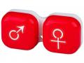 Pouzdra na kontaktní čočky - Pouzdro na čočky muž a žena - červené