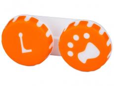 Pouzdro na čočky Tlapka - oranžové