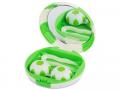 Pouzdra na kontaktní čočky se zrcátkem - Kazetka Fotbalový míč - zelená