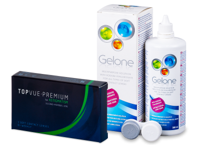 TopVue Premium for Astigmatism (3 čočky) + roztok Gelone 360 ml