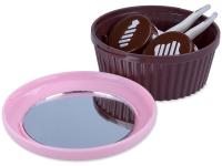 Příslušenství k čočkám - Kazetka se zrcátkem Muffin - růžová