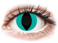 Crazy barevné kontaktní čočky - CRAZY LENS - Cat Eye Aqua - nedioptrické jednodenní