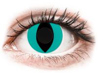 Barevné kontaktní čočky - CRAZY LENS - Cat Eye Aqua - nedioptrické jednodenní
