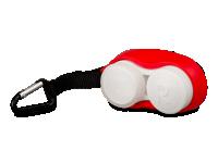 Pouzdra na kontaktní čočky - Pouzdro na čočky s karabinkou červené