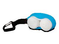 Pouzdra na kontaktní čočky - Pouzdro na čočky s karabinkou modré